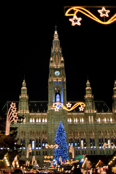 Vienna's Rathaus and Christkindlemarkt. The lights are gorgeous.
